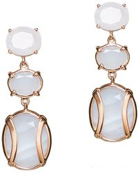 Alexandra Alberta - Yellow Gold Plated Lexington Earrings With Blue Laced Chalcedony - Lyst