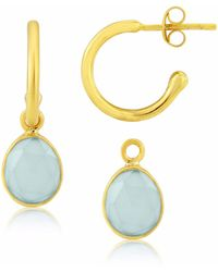 Auree - Manhattan Gold & Aqua Chalcedony Interchangeable Gemstone Hoop Earrings - Lyst