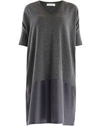 Paisie - Relaxed Fit Knitted V-neck Dress With Silk Panel In Dark Grey - Lyst