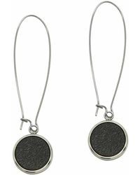 N'damus London - Silverdale Brown Leather & Steel Drop Earrings - Lyst