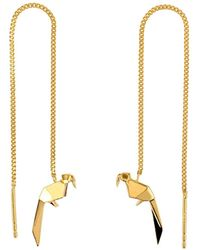 Origami Jewellery - Parrot Gold Chain Earrings - Lyst