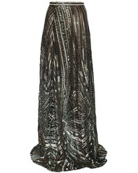 Jiri Kalfar - Green & Gold Sequin Skirt With Slit - Lyst