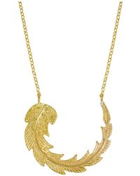 Ottoman Hands - Gold Feather Necklace - Lyst