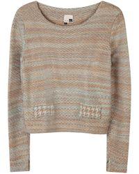 STUDIO MYR Boatneck Wool Sweater In Audrey Hepburn Style Tweed-fair - Blue