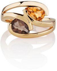 Manja | Citrine & Smoky Quartz Love Bird Ring Gold | Lyst
