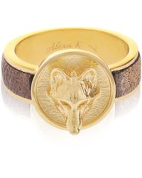 Alexa K - Gold Wolf Leather Ring - Lyst
