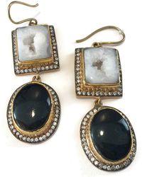 Meghna Jewels - Double Drop Druzy Black & White Earrings - Lyst
