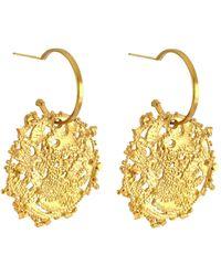 Annabelle Lucilla Jewellery - Atlas Disk Hoops Gold - Lyst