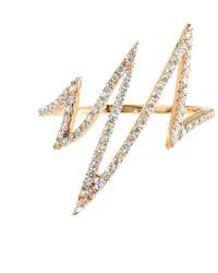 Talia Naomi - Flash Ring Rose Gold White Diamond - Lyst