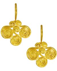 Ottoman Hands - Air Symbol Gold Drop Earrings - Lyst