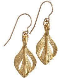 Chupi - Tiny Swan Feather Earrings Gold - Lyst