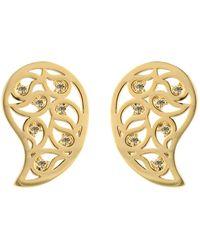 Sonal Bhaskaran - Reya Gold Paisley Earrings Yellow Cz - Lyst