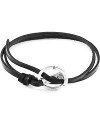 Anchor & Crew - Coal Black Ketch Anchor Silver & Flat Leather Bracelet - Lyst