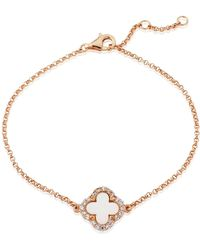 Auree - Irini Rose Gold And Mother Of Pearl Clover Bracelet - Lyst