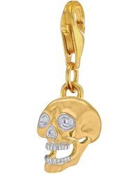 True Rocks - Mixed Metal Skull Charm Gold/silver - Lyst