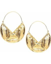 Ottoman Hands - Engraved Statement Gold Hoop Earrings - Lyst