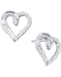 Cosanuova | Diamond Heart Love Stud Earrings In 14k White Gold | Lyst
