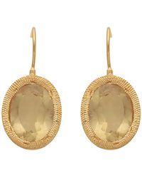 Carousel Jewels - Engraved Gold & Oval Lemon Topaz Earrings - Lyst