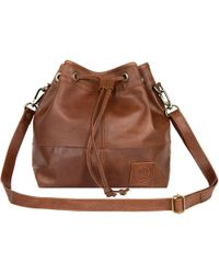 MAHI - Classic Bucket Drawstring Bag In Vintage Brown Leather - Lyst