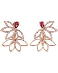 Joana Salazar - Lotus Flower Sparkling Earjackets With Pink Tourmalines - Lyst