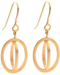 Nancy Rose Jewellery - Gold Plated Ellipse Hook Earrings - Lyst