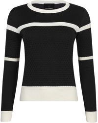 NY CHARISMA - Black & White Two Tone Knit Jumper With Textured Checker Pattern - Lyst