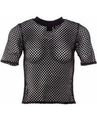 OKAYLA - Black Mesh T-shirt - Lyst
