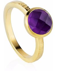 Neola - Estella Gold Stacking Ring With Purple Amethyst - Lyst
