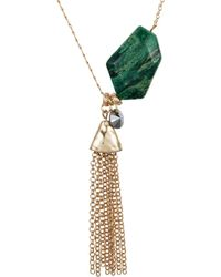 Nadia Minkoff - Semi Precious Nugget Necklace Malachite Gold - Lyst