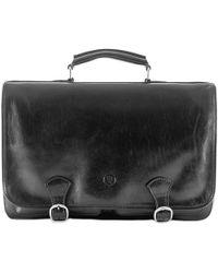 Maxwell Scott Bags | Luxury Italian Leather Men's Satchel Briefcase Jesolo Night Black | Lyst