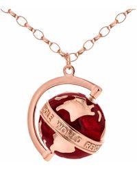 True Rocks - Medium Globe Necklace Rose Gold & Red Enamel - Lyst