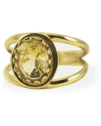 Vintouch Italy - Dual Yellow Topaz Ring - Lyst