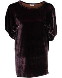 A - M M - E - Drape Top In Silk Velvet - Lyst