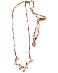HJÄLTE JEWELLERY - Rose Gold Antler Necklace - Lyst