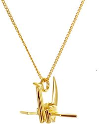 Origami Jewellery | Mini Crane Necklace Gold | Lyst