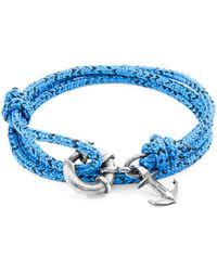 Anchor & Crew - Blue Noir Clyde Anchor Silver & Rope Bracelet - Lyst