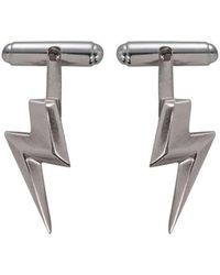 Edge Only - 3d Flat Top Lightning Bolt Cufflinks In Silver - Lyst