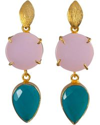 Magpie Rose - Pink & Turquoise Onyx Cocktail Earrings - Lyst
