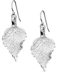Chupi - Tiny Raspberry Leaf Earrings Silver - Lyst