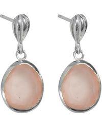 Juvi Designs - Silver Cocoa Pod Tulum Earrings With Rose Quartz - Lyst