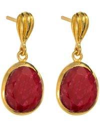 Juvi Designs - Gold Cocoa Pod Baja Earrings Ruby - Lyst