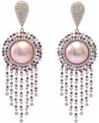Ri Noor - Pink Pearl Ruby & Diamond Earrings - Lyst