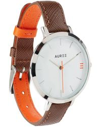 Auree - Montmartre Sterling Silver Watch With Chestnut Brown & Orange Strap - Lyst