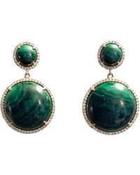 Ri Noor - Green Malachite & Diamond Earrings - Lyst