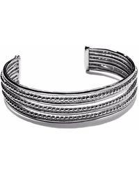 Agnes De Verneuil - Silver Seven-band Cuff Bracelet Line & Pearls - Lyst