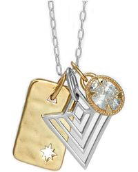 One and One Studio - Sterling Silver & Gold Art Deco Triangle Pendant Set - Lyst