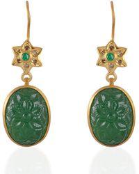 Emma Chapman Jewels - Samsara Diamond & Tsavorite Carved Earrings - Lyst