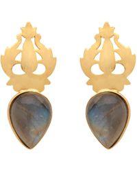 Carousel Jewels - Handcarved Gold & Labradorite Earrings - Lyst