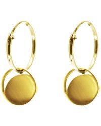 KIND Jewellery   Mini Gold Crescent Lune Disc Hoop Earrings   Lyst
