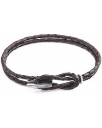Anchor & Crew | Dark Brown Padstow Silver & Leather Bracelet | Lyst